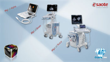 Image: Esaote's CrystaLine range of ultrasound systems (Photo courtesy of Esaote).