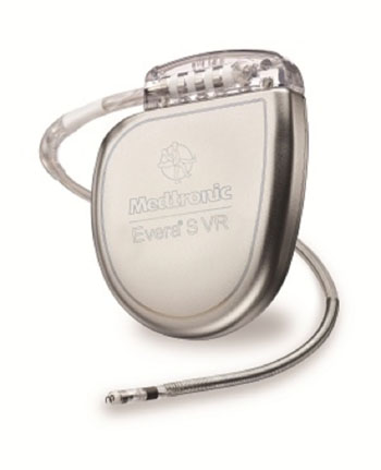 Image: The Evera MRI SureScan implantable cardioverter-defibrillator (ICD), shown with leads (Photo courtesy of Medtronic).