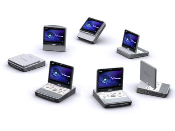 Image: The Viamo portable ultrasound system (Photo courtesy of Toshiba Medical Systems).